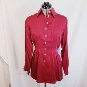 Marc aurel red silk blouse